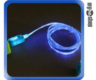 《DA量販店》iPhone5 5C 5S USB LED 發光 數據線 傳輸線 充電線 藍色(80-1008)
