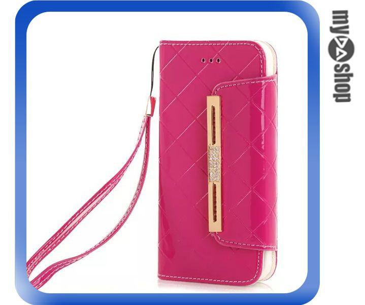 《DA量販店》蘋果 iphone6 4.7吋 亮面 手提 掛繩 皮套 保護套 手機套 桃紅色(80-1201)