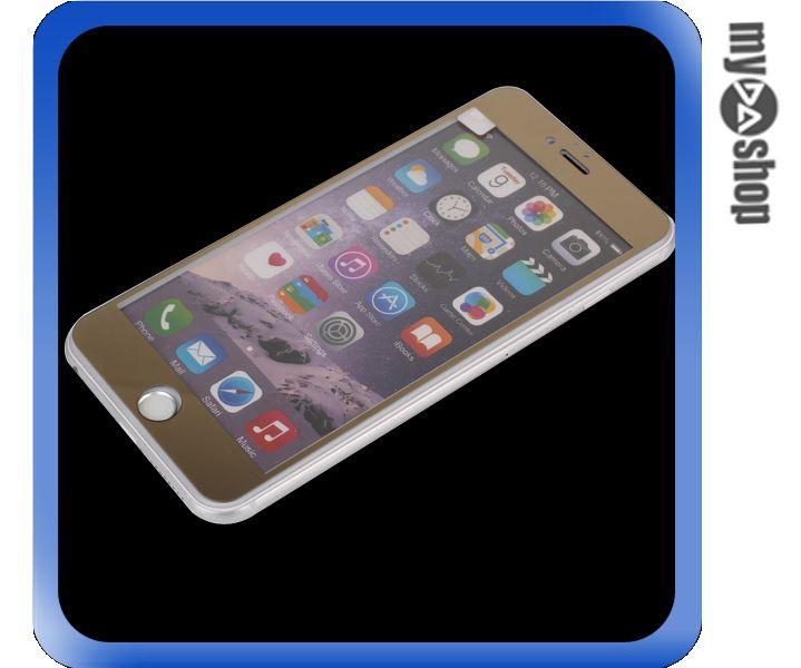 《DA量販店》彩色 電鍍 iphone6 4.7吋 滿版 螢幕 鋼化 玻璃 保護貼 金色(80-1271)