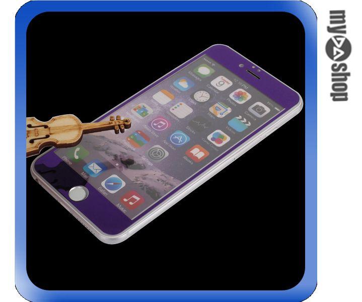 《DA量販店》彩色 電鍍 iphone6 plus 5.5 滿版 螢幕 鋼化 玻璃 保護貼 紫色(80-1277)