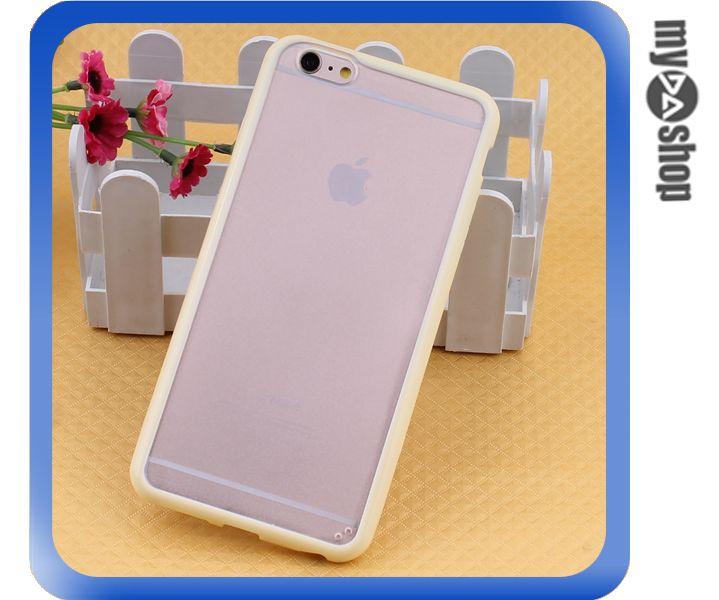 《DA量販店》蘋果 iphone6 4.7吋 糖果色 PC+TPU 透明 磨砂 手機殼 淺黃色(80-1551)