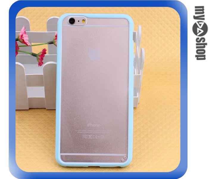 《DA量販店》蘋果 iphone6 4.7吋 糖果色 PC+TPU 透明 磨砂 手機殼 天藍色(80-1552)