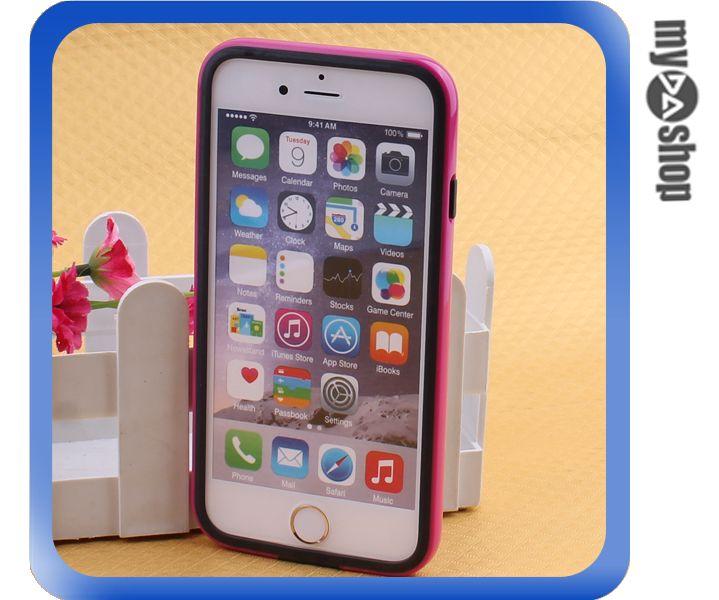 《DA量販店》蘋果 iphone6 plus 5.5吋 雙色 PC 手機邊框 手機框 黑+桃紅(80-1587)
