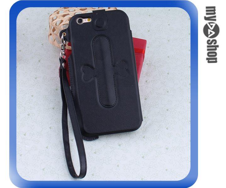 《DA量販店》iphone6 手機套 皮套 U型支架 掛繩 保護套 touch-U 黑色(80-1647)