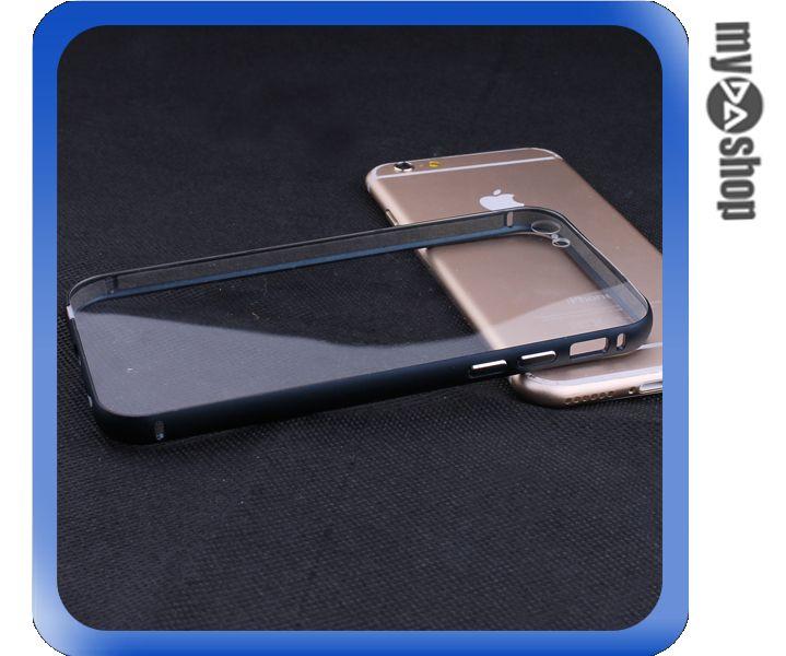 《DA量販店》iphone6 4.7吋 金屬框 滑蓋式 PC 透明 背板 手機殼 深藍(80-1727)