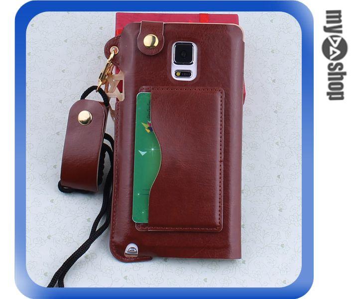 ~DA量販店~三星 Samsung note4 掛繩 插卡式 皮套 支架 手機套 棕色^(