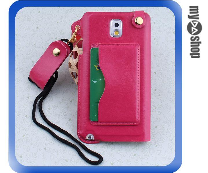 《DA量販店》三星 Samsung note3  掛繩 插卡式 皮套 支架 手機套 桃紅色(80-1806)