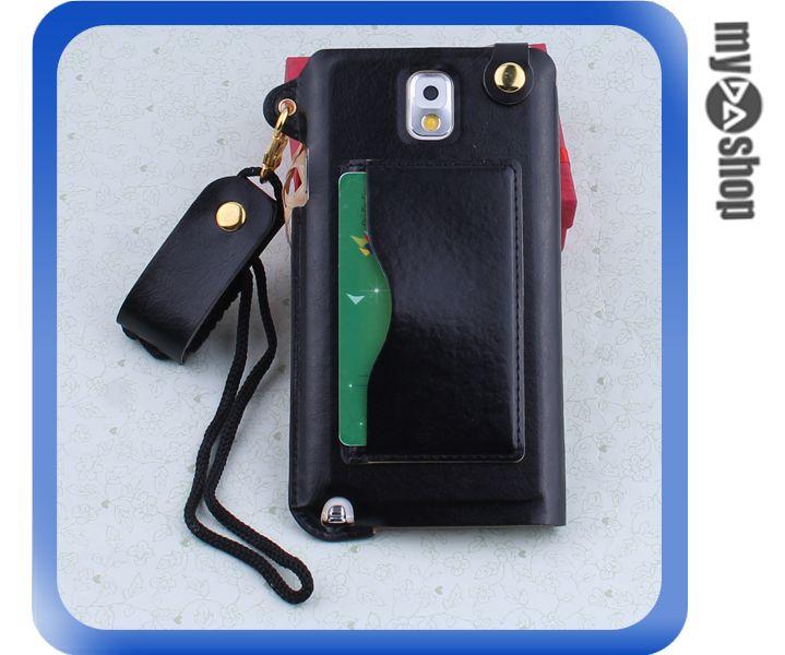 《DA量販店》三星 Samsung note3  掛繩 插卡式 皮套 支架 手機套 黑色(80-1810)