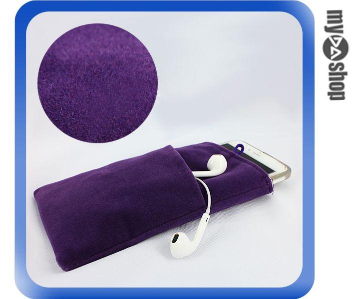 《DA量販店》Apple 三星 HTC SONY 通用 雙層 絨布袋 6吋 紫色(80-2110)