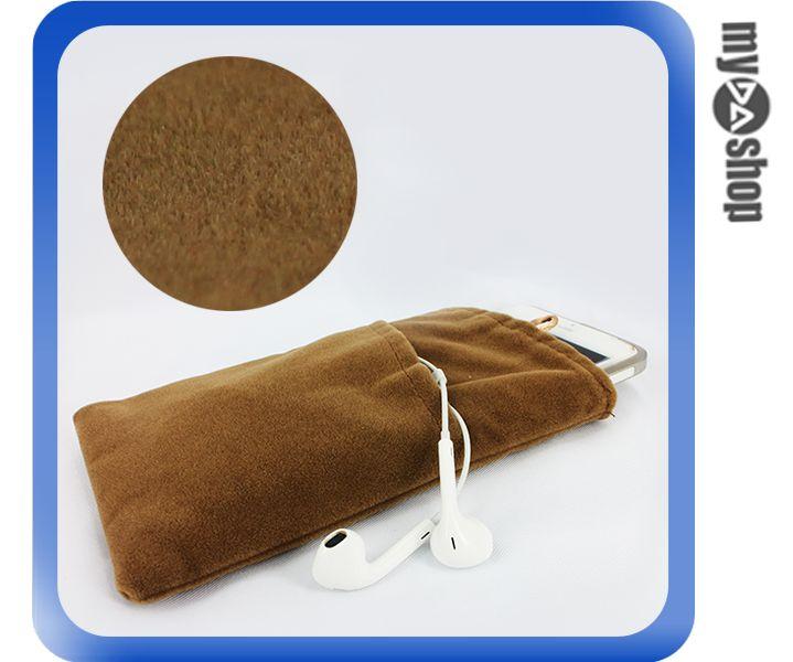 《DA量販店》Apple 三星 HTC SONY 通用 雙層 絨布袋 6吋 棕色(80-2111)