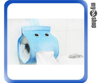 《DA量販店》可愛 浴室 生活 捲筒式 面紙盒 衛生紙盒 紙巾套 面紙套 藍色(V50-0112)