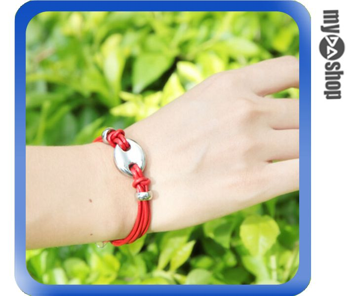 《DA量販店》波希米亞 男女 情侶  時尚 復古 磁扣 皮繩 多層 手環 手鍊 紅(V50-0246)