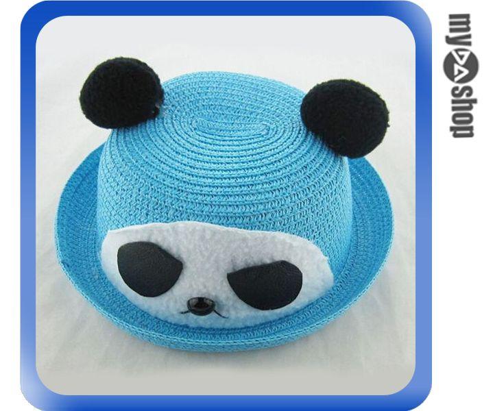 《DA量販店》韓版 兒童 卡通 造型 草帽 遮陽帽 沙灘帽 藍色 熊貓款(V50-0331)