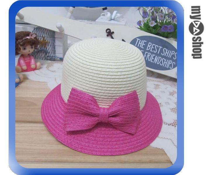 《DA量販店》親子 母女 蝴蝶結 雙色 草帽 遮陽帽 沙灘帽 兒童款 桃紅色(V50-0345)