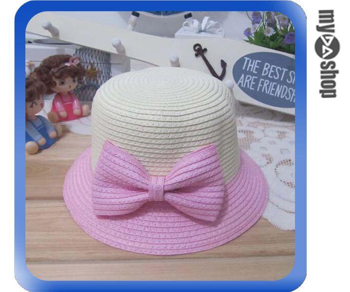《DA量販店》親子 母女 蝴蝶結 雙色 草帽 遮陽帽 沙灘帽 成人款 粉色(V50-0348)