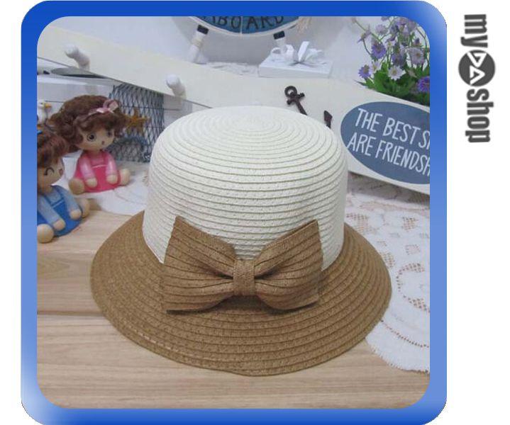 《DA量販店》親子 母女 蝴蝶結 雙色 草帽 遮陽帽 沙灘帽 成人款 卡其色(V50-0351)