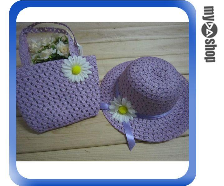 《DA量販店》夏季 兒童帽 遮陽帽 草帽 花 編織 韓版 手提袋 包包 紫色款(V50-0353)