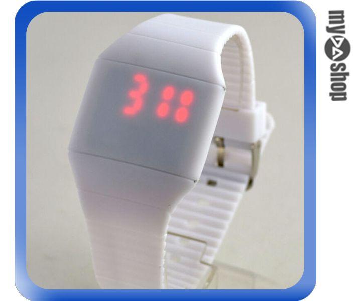 《DA量販店》韓版 時尚 簡約 LED 觸摸 手表 中性 塑膠 腕表 電子表 白色(V50-0516)