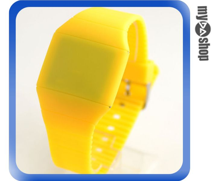 《DA量販店》韓版 時尚 簡約 LED 觸摸 手表 中性 塑膠 腕表 電子表 黃色(V50-0518)