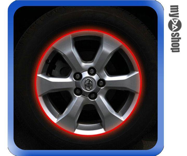 《DA量販店》汽車 DIY 車輪 3M 輪框貼紙 反光貼紙 改裝 改色 14吋 紅色(V50-0913)