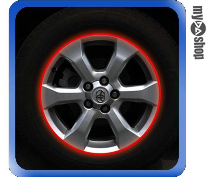 《DA量販店》汽車 DIY 車輪 3M 輪框貼紙 反光貼紙 改裝 改色 17吋 紅色(V50-0931)