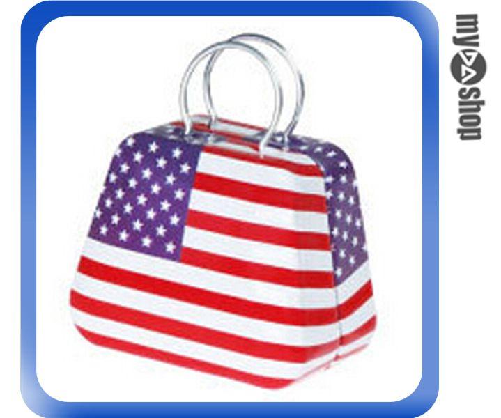 《DA量販店》婚禮小物 美國 國旗 喜糖盒 行李箱 手提包 金屬盒(V50-1032)