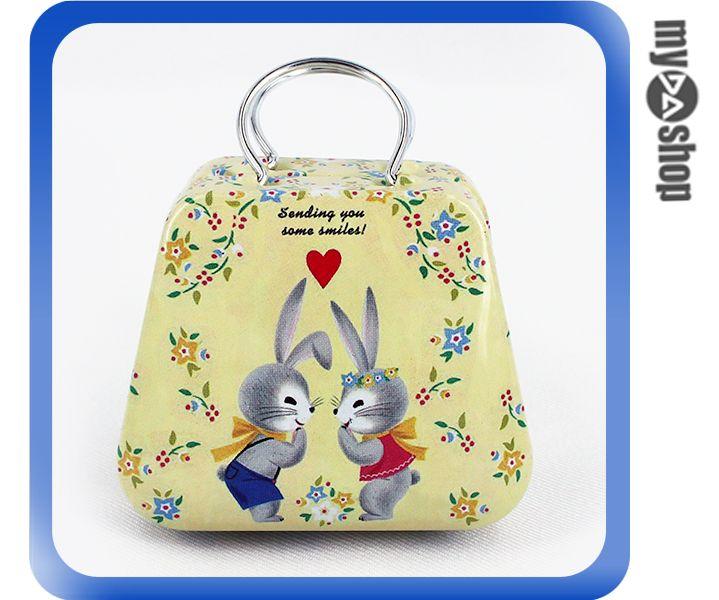 《DA量販店》婚禮小物 喜糖盒 行李箱 手提包 金屬盒 情侶兔(V50-1042)