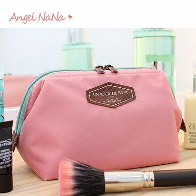 <br/><br/>  收納袋。 AngelNaNa 皮標字母 化妝包/旅行收納包【BA0195】<br/><br/>