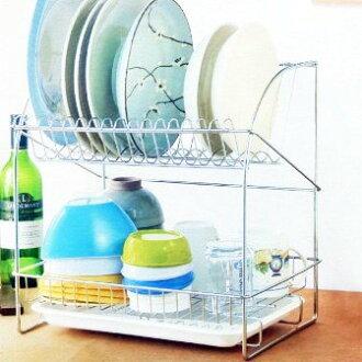 【珍昕】 皇家不鏽鋼大型雙層碗盤架 (370 X 280 X 382mm)/ 餐盤瀝水架