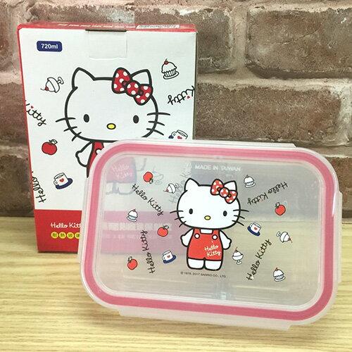 【真愛日本】17051100023 分隔耐熱玻璃保鮮盒-KT蘋果紅衣紅 三麗鷗kitty 凱蒂貓 保鮮盒 食物儲藏