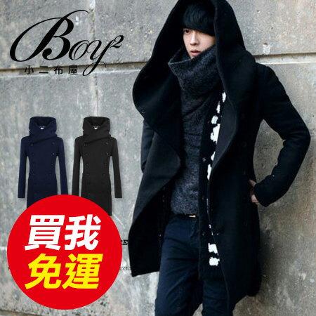 ☆BOY-2☆【NZ78014】長大衣韓風簡約毛呢素面雙排扣 0