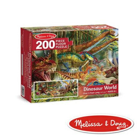 美國瑪莉莎 Melissa & Doug 大型地板拼圖恐龍世界200 片