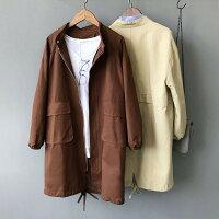 外套推薦到[全店免運] 簡約大口袋風衣中長款加厚外套 /  樂天時尚館