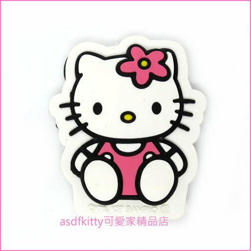 asdfkitty可愛家☆KITTY全身造型粉紅色小花裝飾磁鐵-汽車.機車.冰箱.微波爐.電腦主機都可貼-日本正版商品