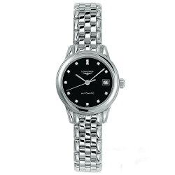 LONGINES 浪琴表 L42744576旗艦典雅真鑽腕錶/黑面26mm