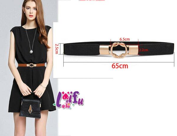來福:來福皮帶,H346皮帶設計感百搭金色雙圓圈對扣細腰帶皮帶,售價168元