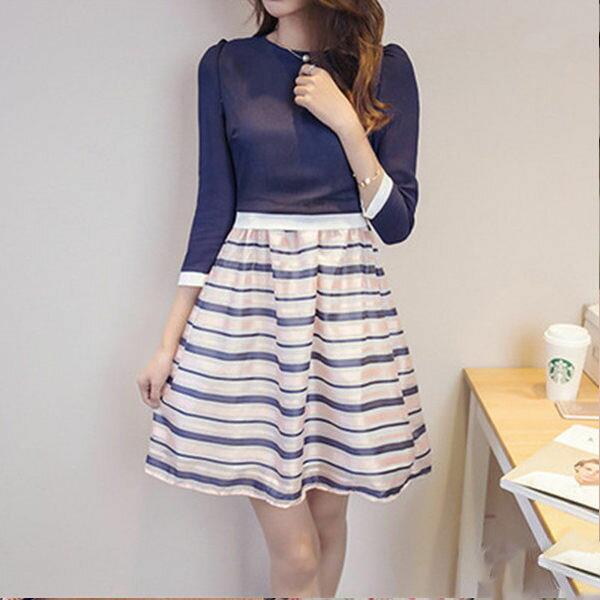 PS Mall 雪紡假兩件式洋裝 歐根紗裙傘狀拼接條紋連身裙~T583~ ~  好康折扣
