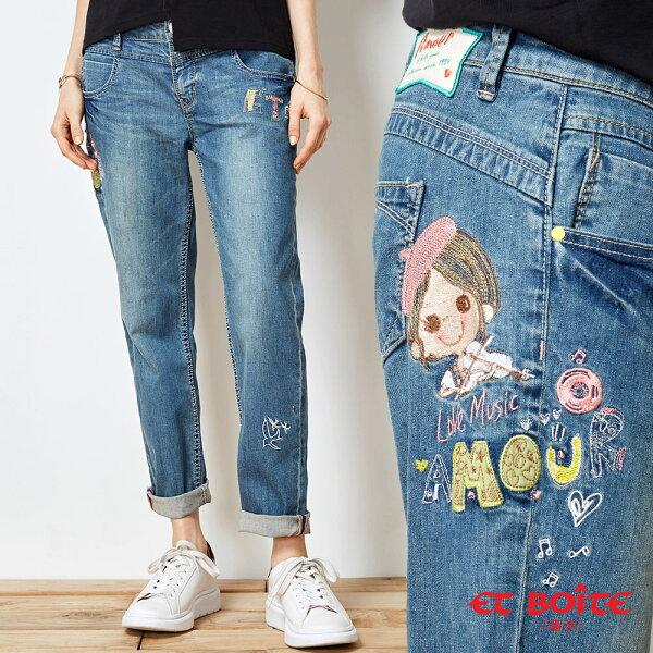 【夏日音樂派對】EtAmour拉提琴娃精繡男友褲(淺藍)-BLUEWAYETBOiTE箱子