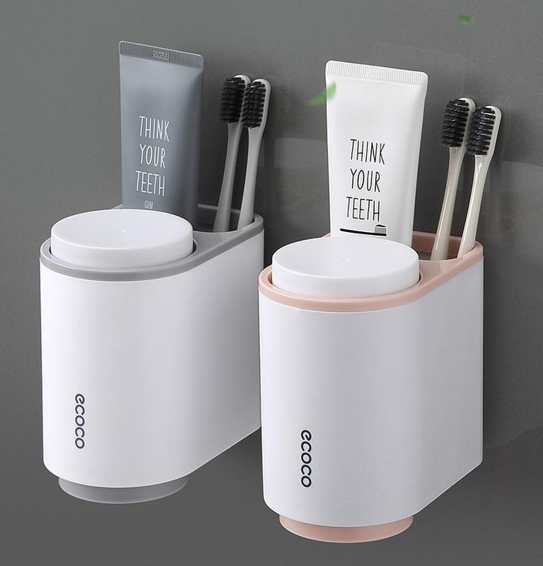 【雙人無痕磁吸式漱口杯套】壁掛全自動擠牙膏器 免打孔擠壓器 牆上牙膏擠壓器 牙膏牙刷置物架 牙膏 牙刷 牙杯