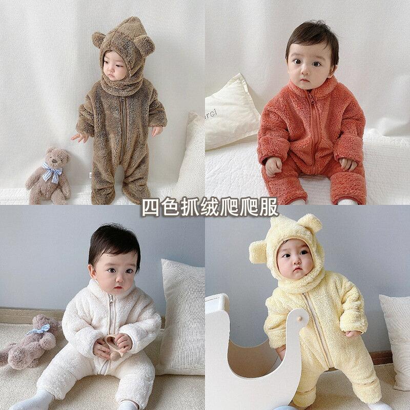 寶寶爬服洋氣卡通小熊哈衣外穿防寒保暖