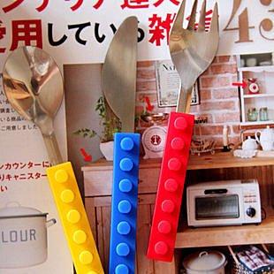 =優生活=(積木餐廳指定款)出口日本 創意 樂高積木 不鏽鋼 叉勺 刀子湯匙 環保餐具組 三入組