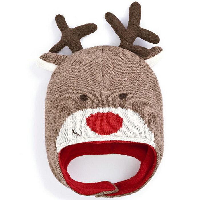 【hella 媽咪寶貝】英國 JoJo Maman BeBe 保暖毛帽 歡樂麋鹿 (JJHAT-08)