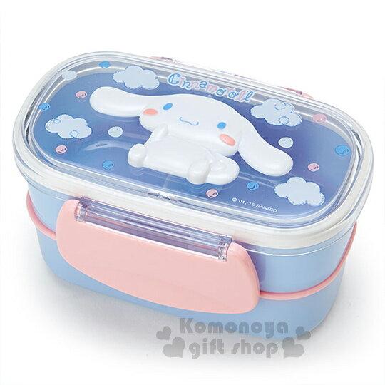 〔小禮堂〕大耳狗 日製雙層微波便當盒《藍粉.坐姿.雲朵.點點.立體造型蓋》容量約480ml