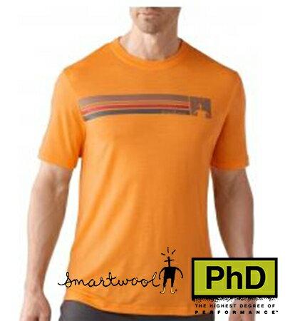 Smartwool 美國 SF904~169 Logo Stripe Tee 條紋圓領羊毛短袖薄排汗衣 橘色 男款