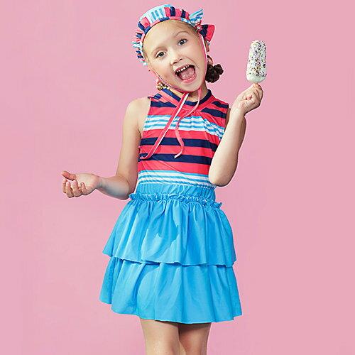BOBI:兒童泳裝條紋印花拼接百褶裙兩件套兒童泳裝【SFC2039】BOBI1214