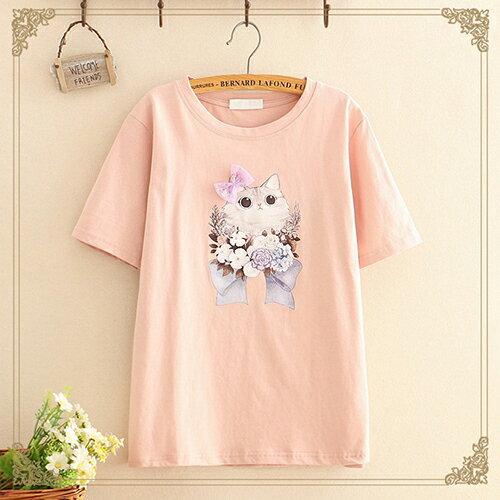 貼布蝴蝶結印花圓領短袖T恤(4色F碼)【OREAD】 0