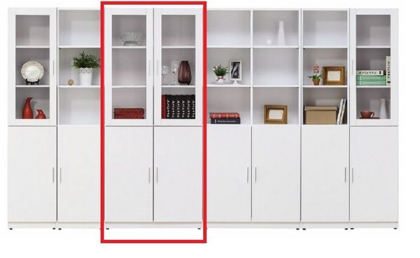 【石川家居】YE-A500-03艾美白色2.7尺四門書櫃(不含其他商品)台北到高雄搭配車趟免運