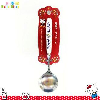 三麗鷗凱蒂貓Hello Kitty 陶瓷把手 圓頭 不鏽鋼湯勺湯匙 陶瓷不鏽鋼餐具 日本進口正版 170279