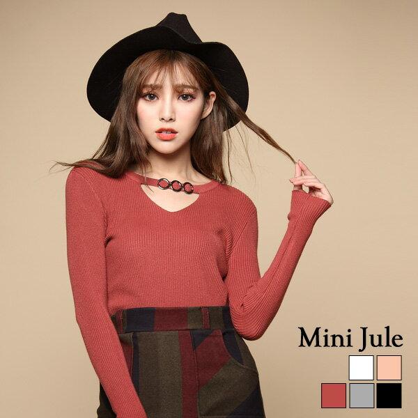 小豬兒 Mini Jule:針織毛衣三環扣鏤空V領彈性針織上衣小豬兒MiNiJule【SJE72000051】