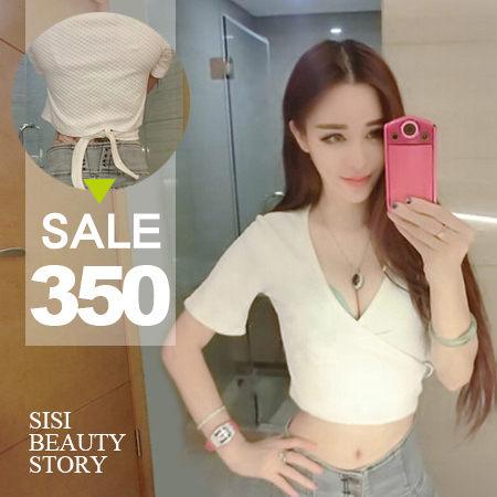 SiSi Girl:SISI【T5056】性感簡約美型低胸深V領綁帶短版中袖露肚臍半截小可愛T恤上衣